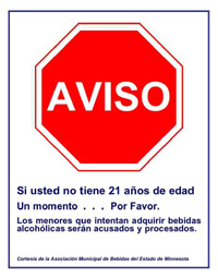 Click to Enlarge: Spanish Warning Sign